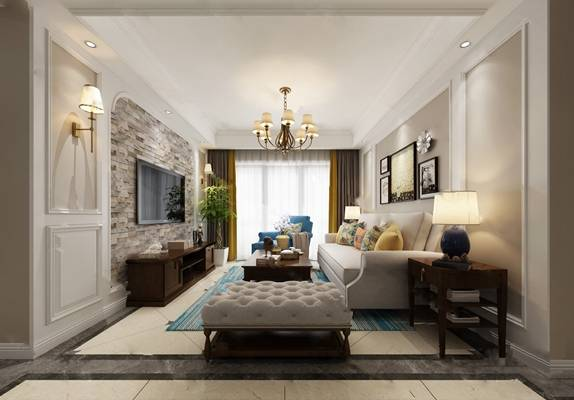美式客厅3D模型 吊灯 沙发茶几组合 边柜 电视柜