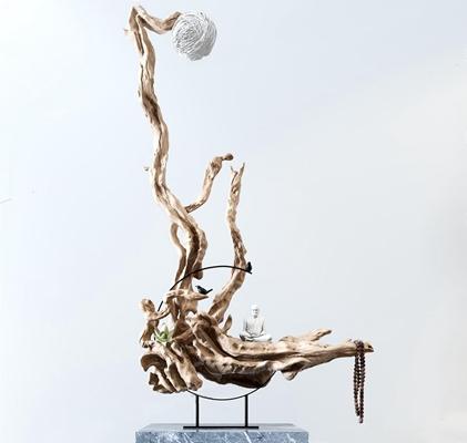 新中式根雕摆件 新中式根雕 摆件 佛像