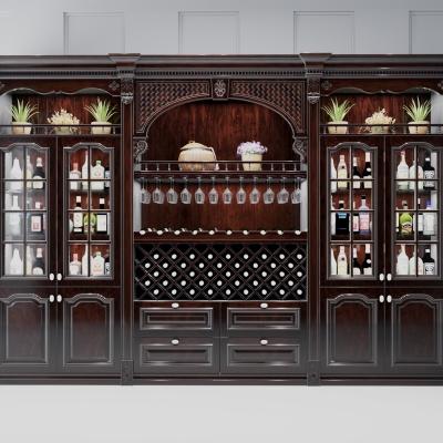 美式实木酒柜3D模型