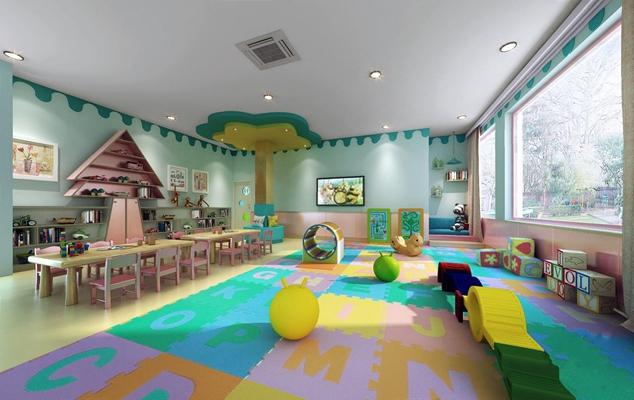现代亲子教室 学校 幼儿园 亲子教室 桌子 椅子 儿童椅子 玩具
