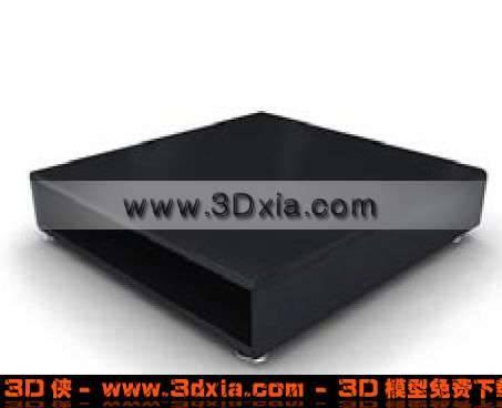 黑色真皮精致的沙发凳3D模型