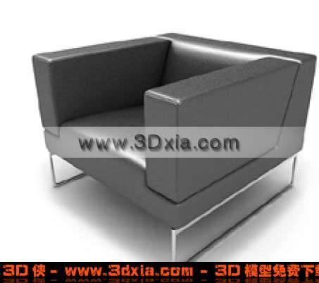 黑色真皮漂亮的标准单人沙发3D模型