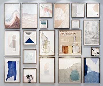 北欧装饰画组合 北欧挂画相框 装饰画组合
