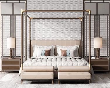 现代床具组合 现代双人床