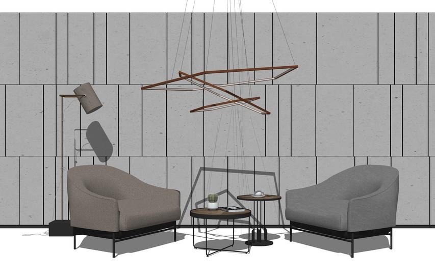 沙发茶几吊灯组合SU模型