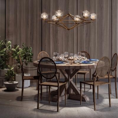 工业风实木餐桌椅餐具吊灯盆栽组合3D模型