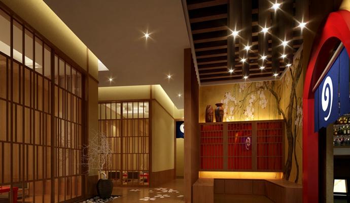 日式日式餐厅 黑色陶艺花瓶 日式筒灯射灯组合