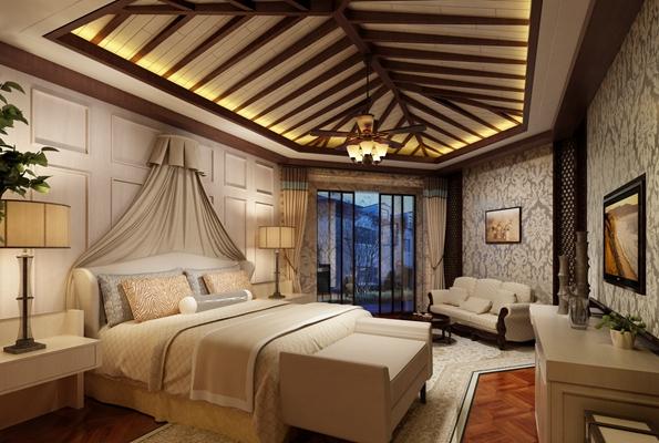 米色布艺床幔