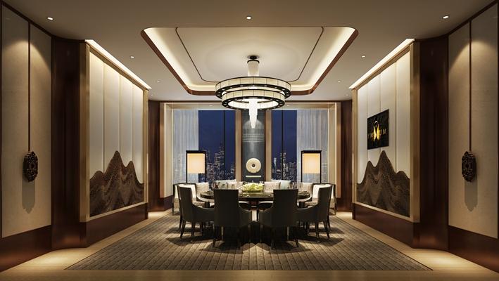 新中式中餐廳 新中式白色吊燈