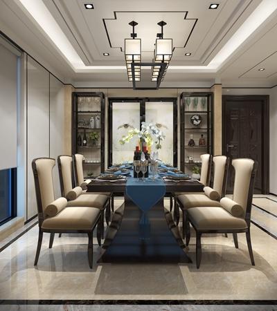 新中式布艺餐椅组合