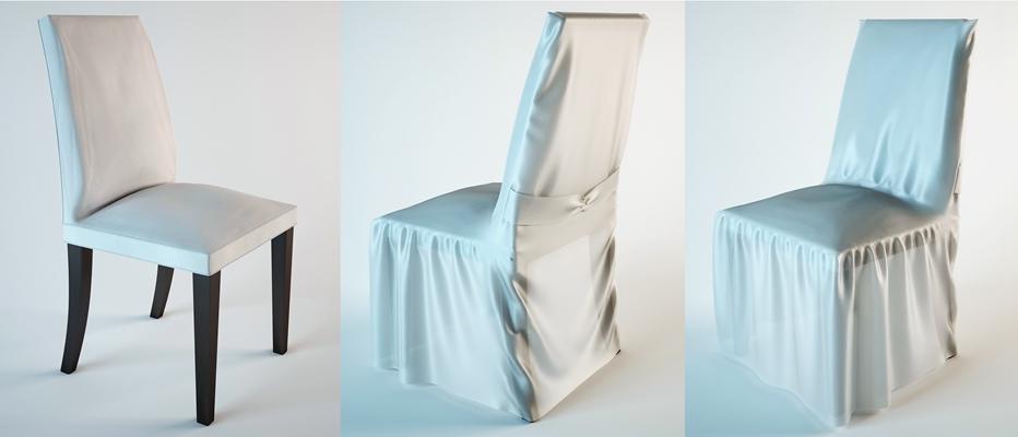 现代白色布艺餐椅