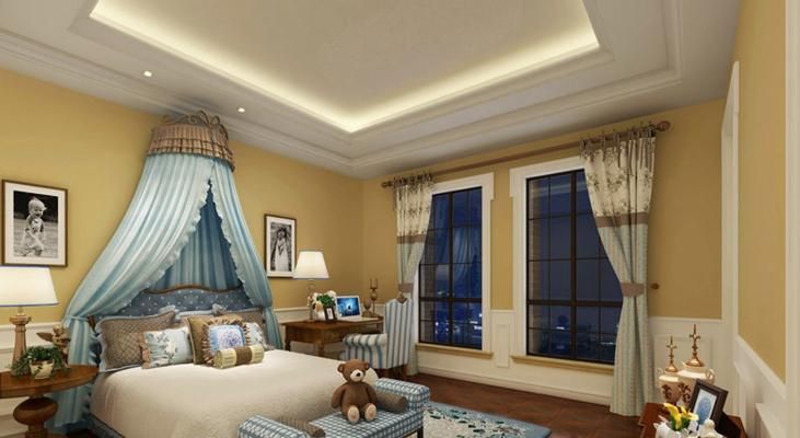 蓝色布艺床幔