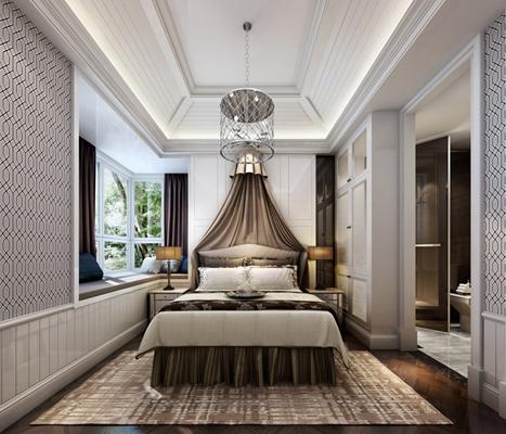 棕色布艺床幔