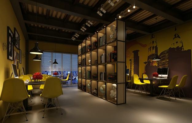 现代咖啡厅 现代长方形木艺装饰柜 现代黄色塑料休闲桌椅组合