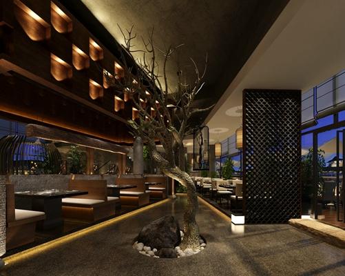 新中式中餐厅 褐色树 新中式黑色木艺镂空屏风