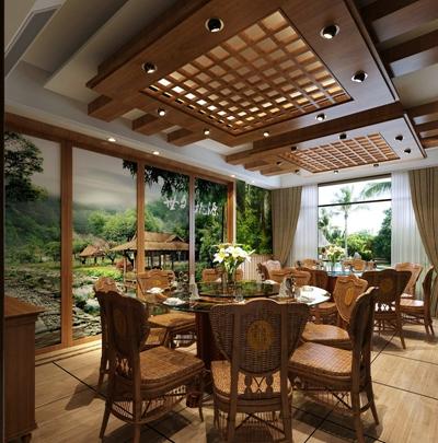 东南亚中餐厅 东南亚棕色木艺餐桌椅组合