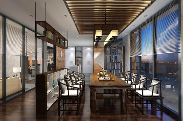 新中式中餐廳 新中式羊皮吊燈 新中式棕色木藝餐桌椅組合 棕色木藝置物架