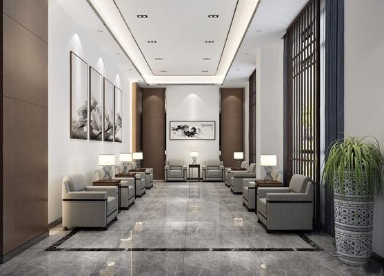 新中式接待室 新中式接待室 单人沙发 茶几 挂画 植物