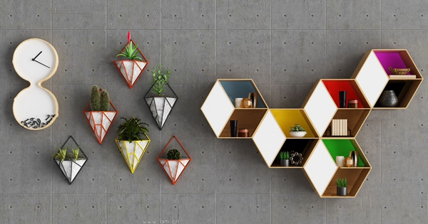 现代壁柜置物架3d模型