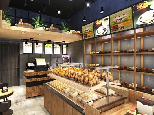 现代面包店 面包 现代木艺休闲桌椅组合