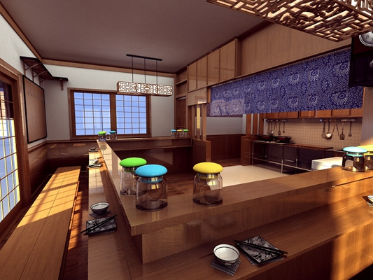 日式原木色日式餐厅 日式原木色木艺餐桌 透明玻璃罐子 传统中式原木色木艺吊灯