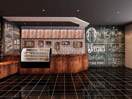 现代原木色咖啡厅 现代玻璃蛋糕柜 黑色木艺钢琴