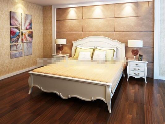 现代白色木艺床具组合