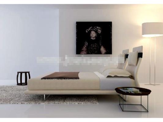 现代米色布艺床具组合