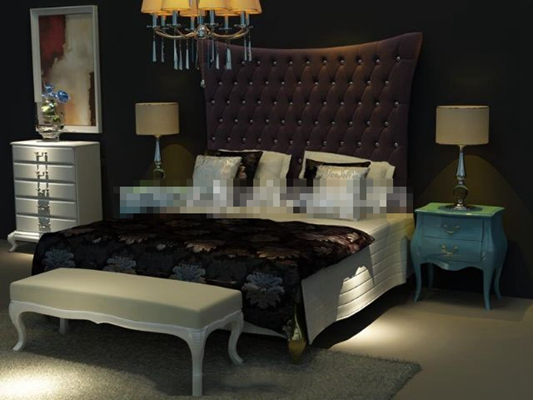 现代白色布艺床具组合