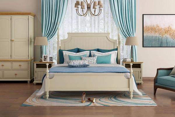 美式卧室家具组合 美式双人床 床头柜 衣柜 休闲椅 吊灯 台灯 挂画 床品 地毯 窗帘