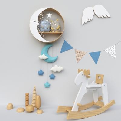 现代布娃娃儿童墙饰玩具摆件组合3D模型