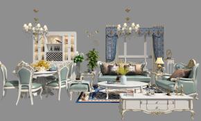 欧式沙发茶几餐桌椅酒柜电视柜组合3D模型