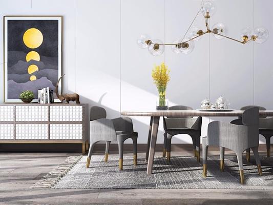 北欧餐桌椅餐边柜组合 北欧桌椅组合 餐桌椅 餐边柜 吊灯 花艺 茶壶 挂画 摆件 地毯 椅子 长桌子