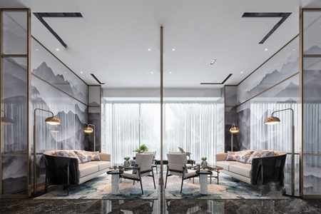 集艾新作新中式洽谈区 新中式售楼处 多人沙发 单椅 角几 落地灯 茶几 饰品摆件
