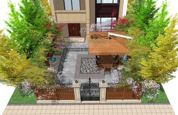 现代庭院景观SU模型
