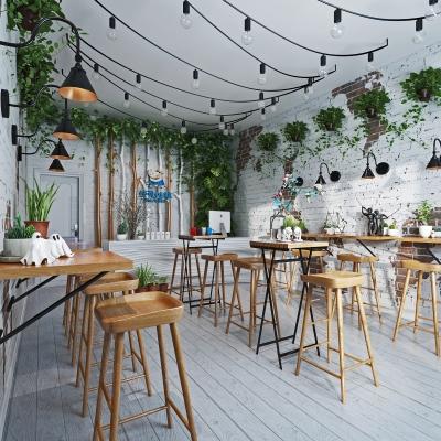 北欧工业风奶茶店3D模型