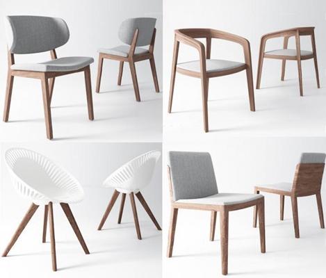 现代椅子组合 现代椅子 单椅