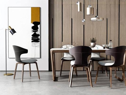 现代精品餐桌餐椅组合 现代餐桌椅 长桌子 单椅 吊灯 落地灯 挂画 盆栽 摆件