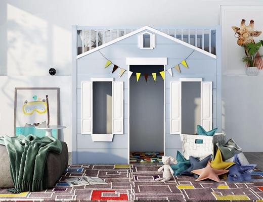 北欧儿童娱乐室家具组合 北欧单人床 上下床 坐垫 边几 挂画 抱枕