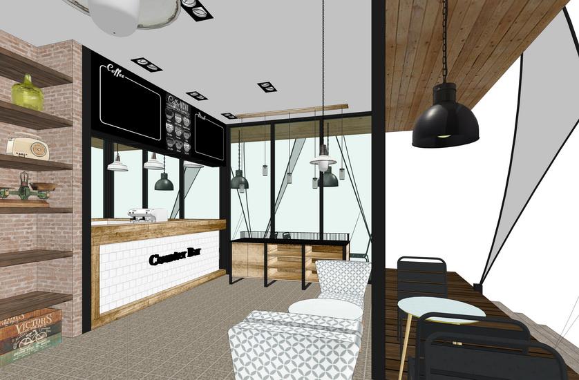 现代工业风咖啡厅室内设计SU模型