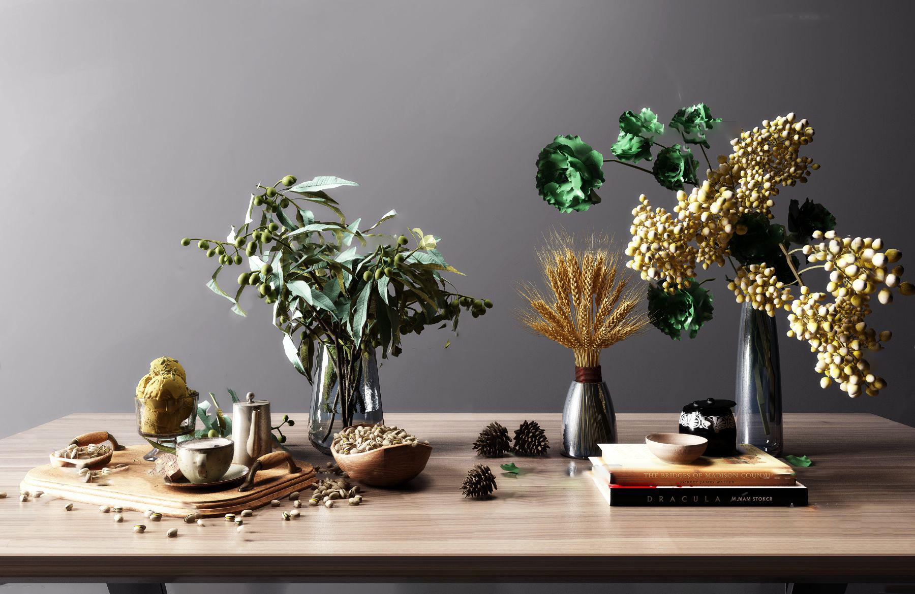 后现代花瓶花卉食物茶具摆件3d模型