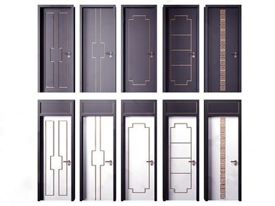 新中式实木烤漆房门 新中式门 单开门