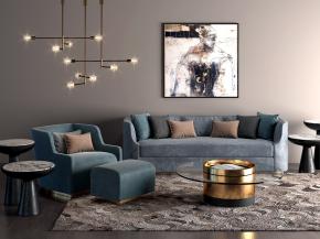 现代布艺沙发茶几边几吊灯组合3D模型
