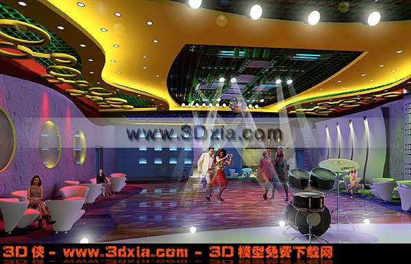 高档精美的舞厅场景3D模型