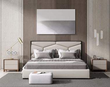 现代床具组合 现代双人床 床尾凳 床头柜 吊灯 台灯