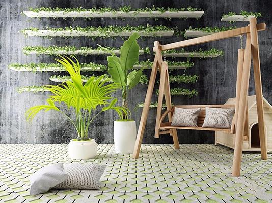 户外秋千绿植木屋子 现代户外椅 秋千 绿植 木屋子