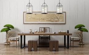 新中式書桌椅裝飾畫吊燈組合3D模型