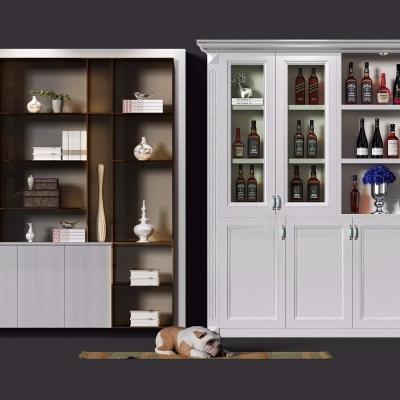 欧式酒柜装饰柜组合3D模型