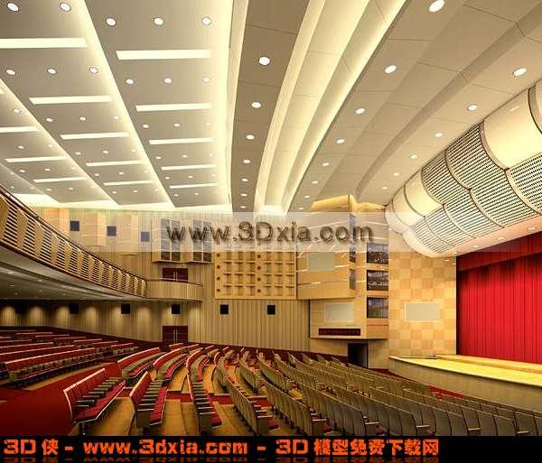 华丽的大会堂场景3D模型