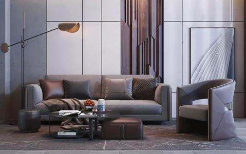现代高级灰双人沙发茶几组合 现代沙发茶几组合 落地灯 圆茶几 坐凳 单人沙发 休闲椅 单椅 挂画